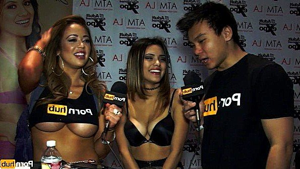 PornhubTV берёт интервью у грудастых азиаток
